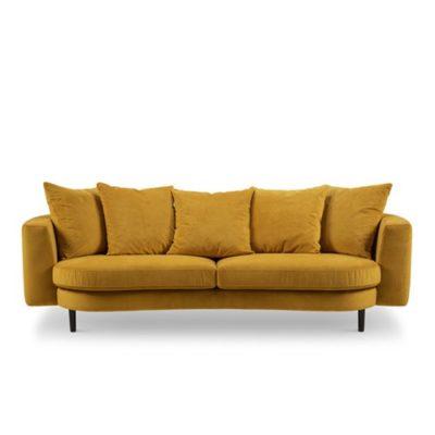 Produktbild, soffa i senapsgul sammet.