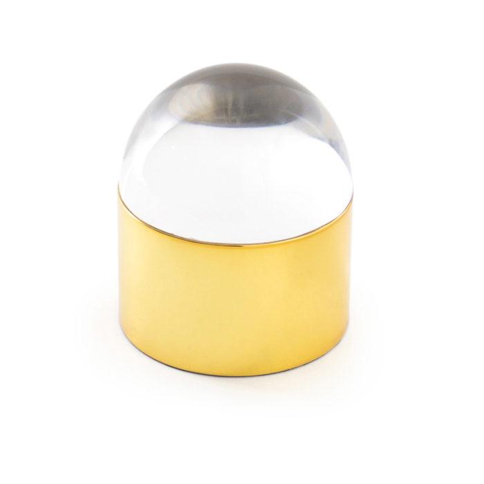 Produktbild, vit glaskupol med gyllene fot.