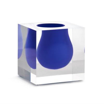 Produktbild, glasvas med blå öppning.