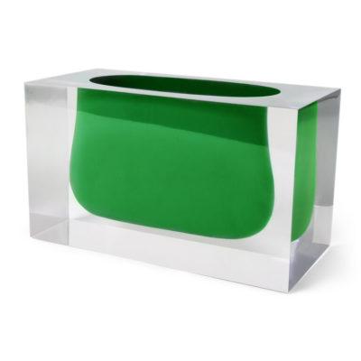 Produktbild, glasvas med grön öppning.
