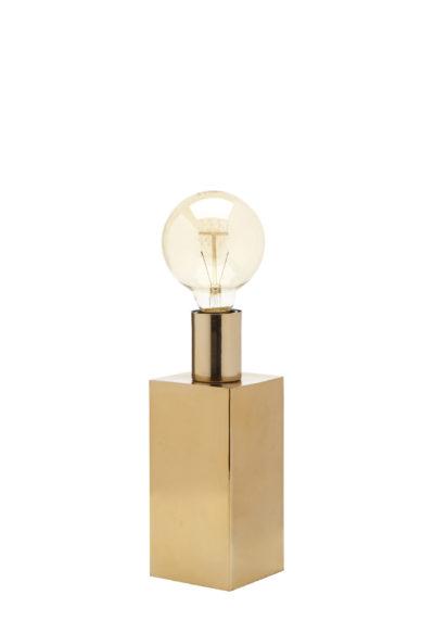 Produktbild, bordslampa med fyrkantig fot och glödlampa i toppen.