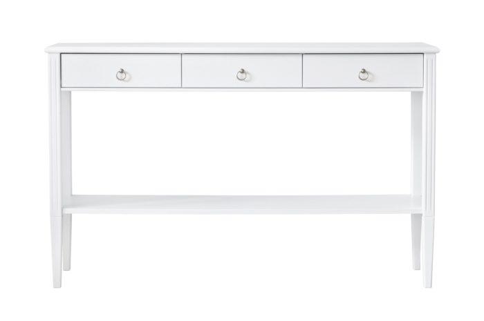Produktbild, vitt avlastningsbord i trä.