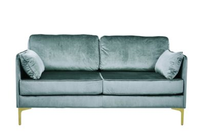 Produktbild, soffa i duvblå sammet.