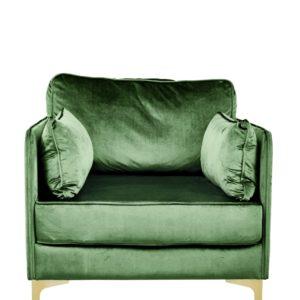 Produktbild, fåtölj i grön sammet.