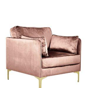 Produktbild, fåtölj i rosa sammet.